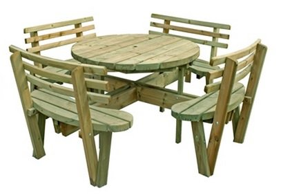 Round Picnic Table with backs